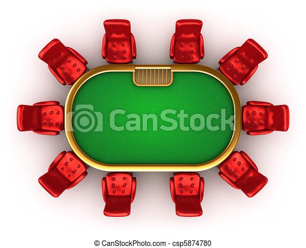 Poker table with chairs top view - csp5874780