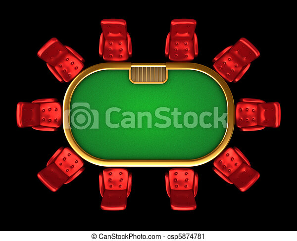 Poker table with chairs top view - csp5874781