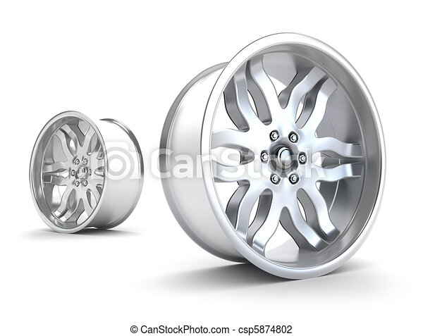 Car rims concept. Isolated on white - csp5874802