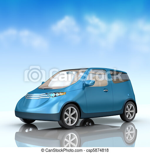 Future city car concept on blue - csp5874818