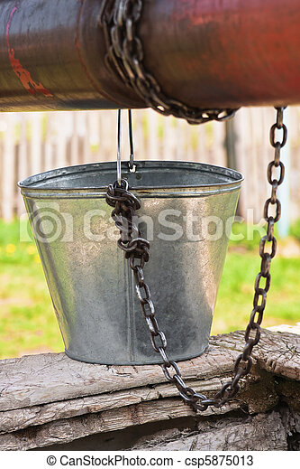 vide, seau, chaîne, puits, poulie - csp5875013