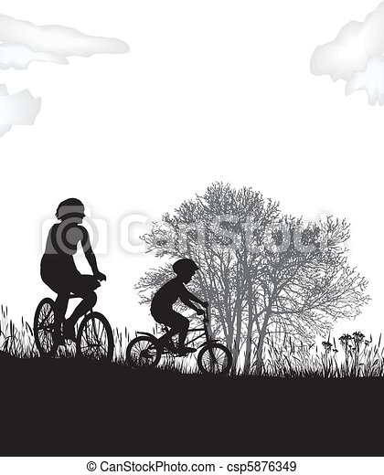 Mother and son on bikes - csp5876349