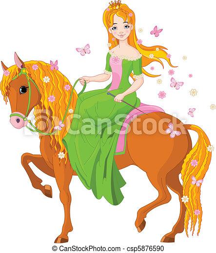 Princess riding horse. Spring - csp5876590