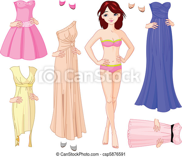 Girl with evening dresses - csp5876591
