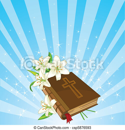 Bible and lily flowers background - csp5876593