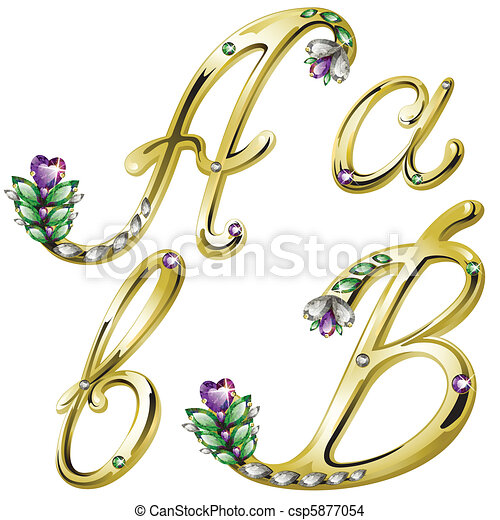 Gold jewelry alphabet letters A, B - csp5877054