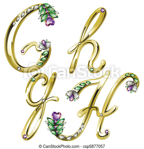 Gold jewelry alphabet letters G, H - csp5877057