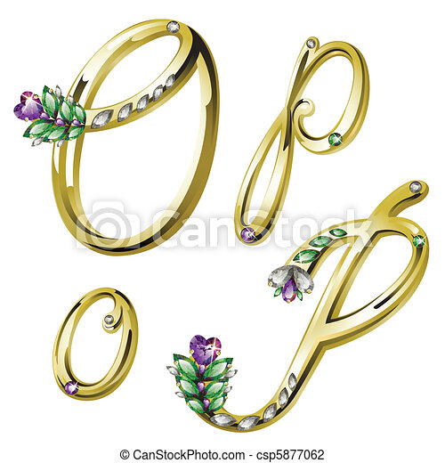 Gold jewelry alphabet letters O,P - csp5877062
