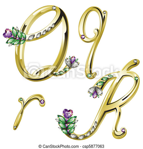 Gold jewelry alphabet letters Q, R - csp5877063