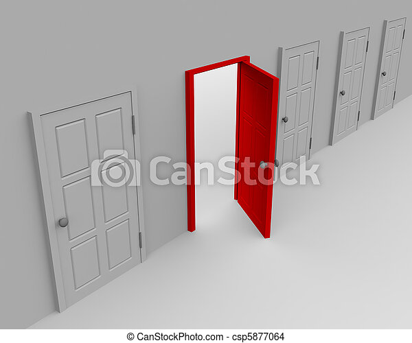 One open door and four closed - csp5877064
