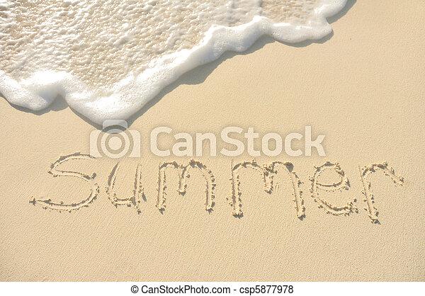 Summer Written in Sand on Beach - csp5877978