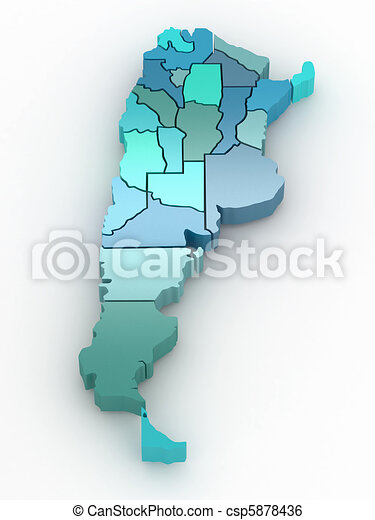 Three-dimensional map of Argentina. 3d - csp5878436