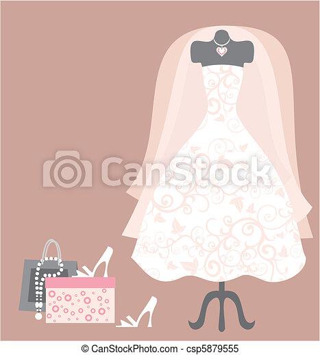 wedding dress and access - csp5879555