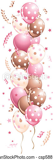 Pink holiday Balloons in line - csp5881093
