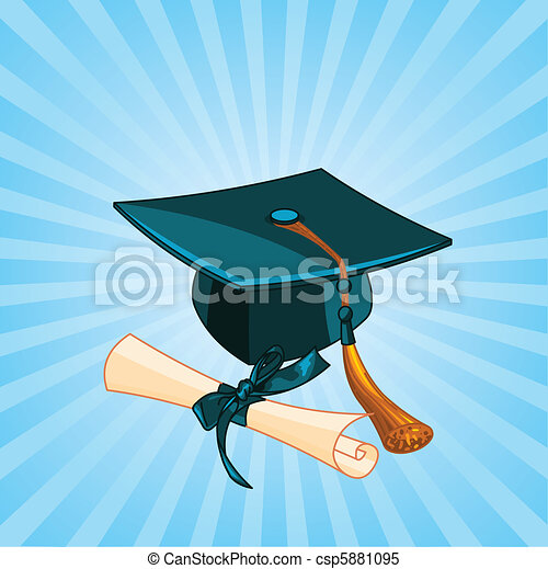 Graduation cap and diploma radial  - csp5881095