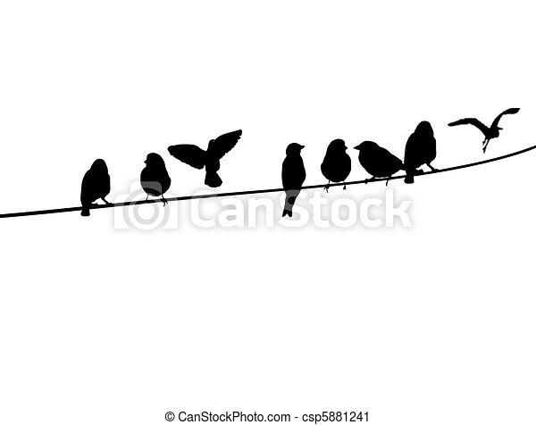 clip art vecteur de oiseaux t l phone fil a. Black Bedroom Furniture Sets. Home Design Ideas