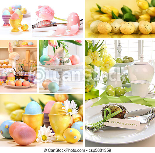 Collage of colorful easter images - csp5881359