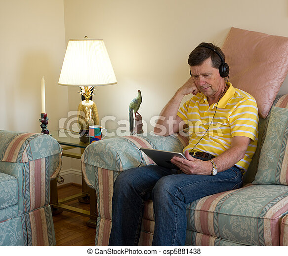 Boomer reading on tablet computer
