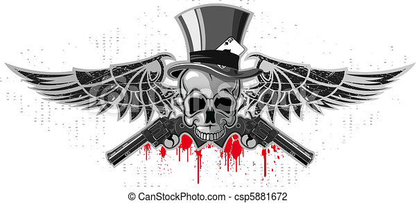 Emblem of a skull with pistols - csp5881672