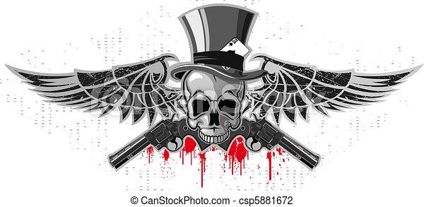 Emblem of a skull with pistols - csp5881672