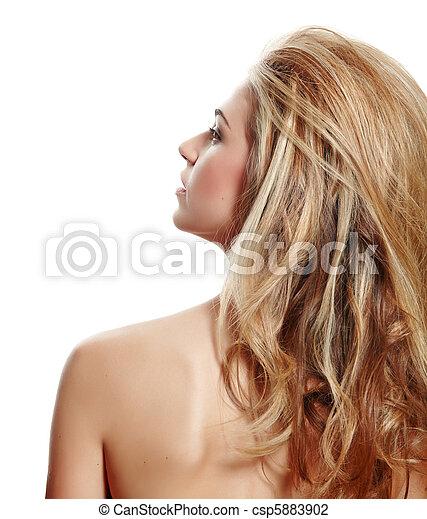 perfil, loura, mulher, longo, cabelo - csp5883902