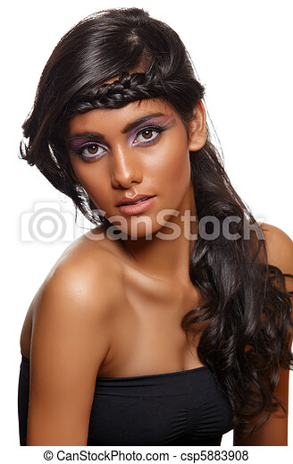 tanned woman with curly hair - csp5883908