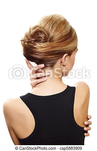beautiful blond woman back - csp5883909