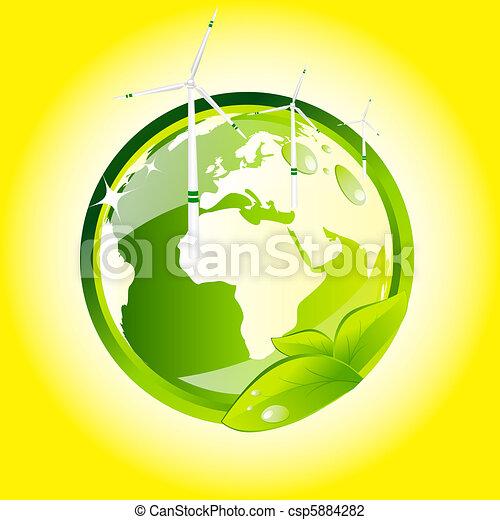 Eco globe with wind turbines  - csp5884282