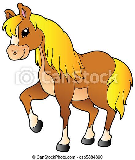 Cartoon walking horse - csp5884890