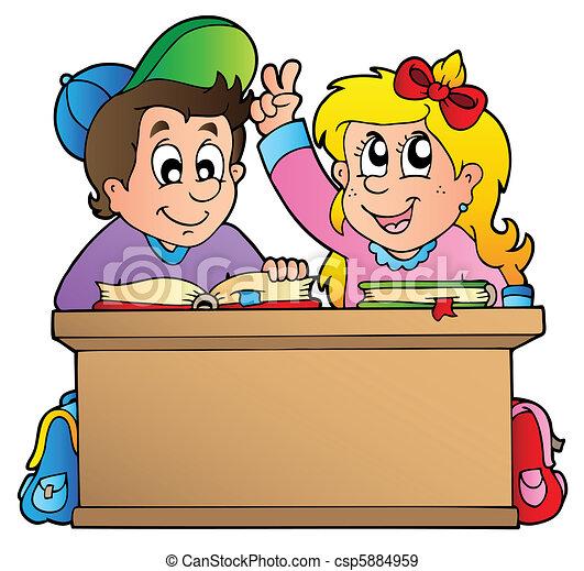 Vettori eps di scuola bambini due scrivania due for Scuola clipart