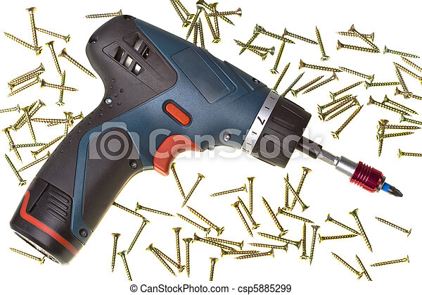Drill-screwdriver electric storage and screws on white background - csp5885299