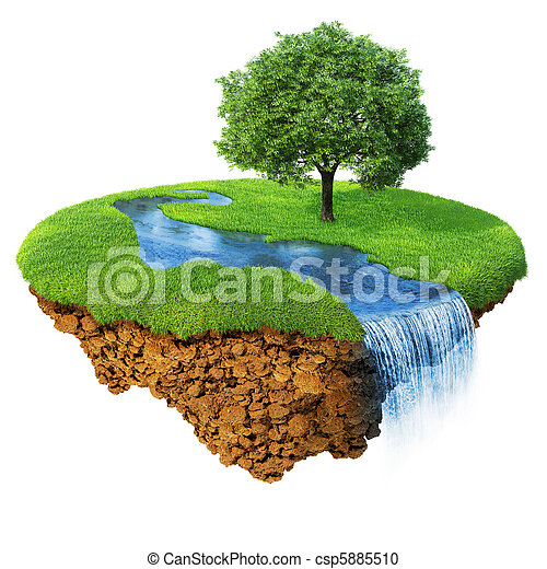 Idyllic natural landscape. Lawn with river, waterfall and one tree. Fancy island in the air isolated. Detailed ground in the base. Concept of success and happiness, idyllic ecological lifestyle. Serie - csp5885510