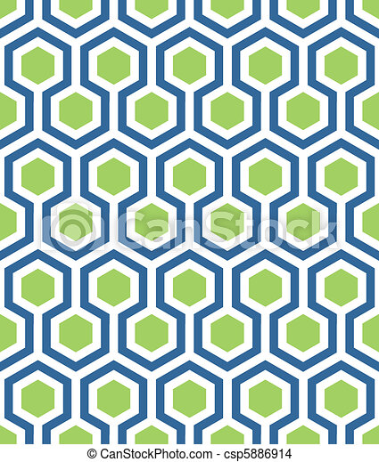 seamless hexagon in blue green - csp5886914