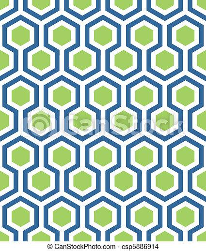 seamless hexagon in blue green - csp5886914