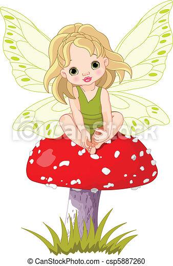 Baby Fairy on the Mushroom   - csp5887260