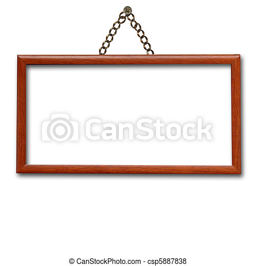 wooden frame hanging on the wall isolated  - csp5887838