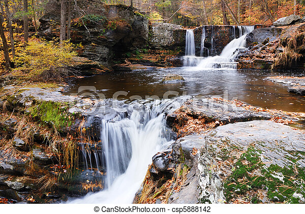 Autumn Waterfall in mountain - csp5888142