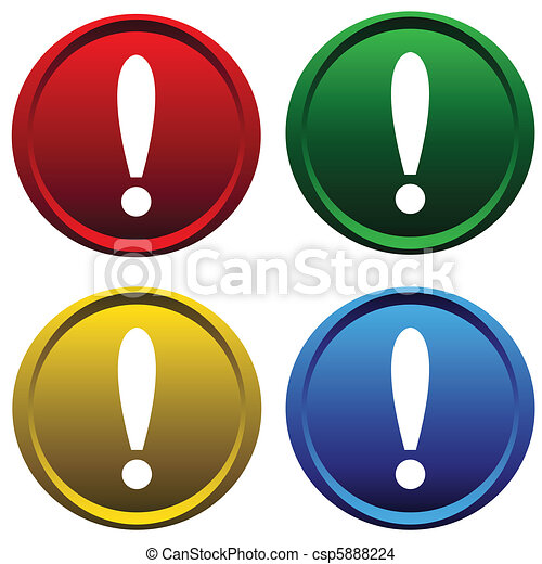 Plastic buttons with a exclamation - csp5888224