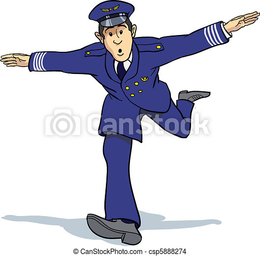 Drawing of Air captain imitating plane flying csp5888274 - Search Clip ...