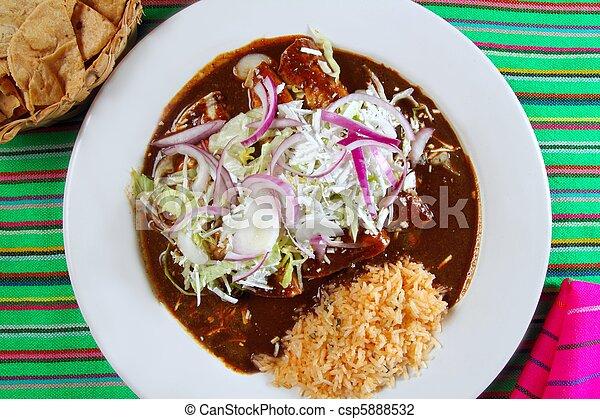 enchiladas de mole and rice Mexican food - csp5888532