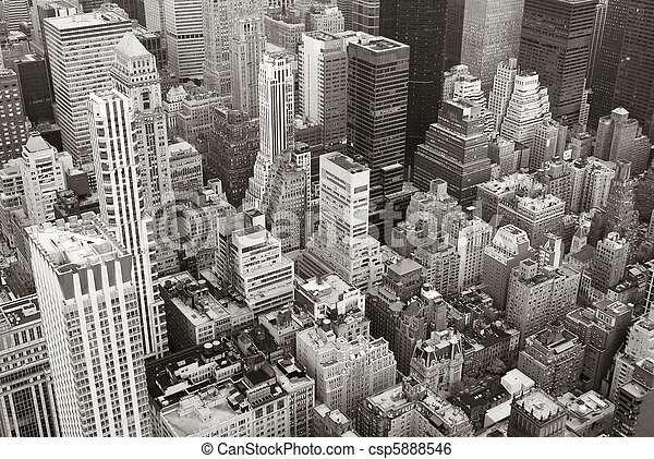 New York City Manhattan skyline aerial view black and white - csp5888546