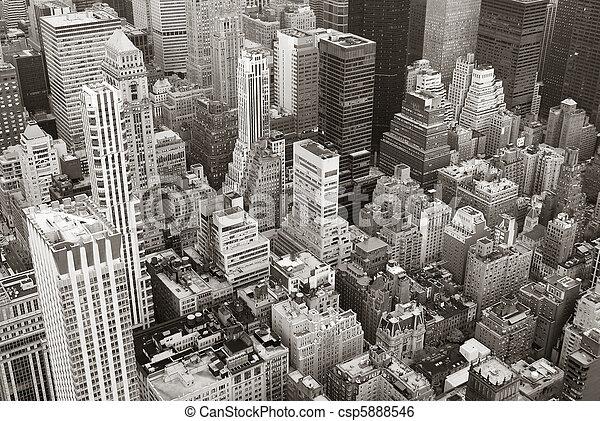 New York City Manhattan skyline aerial view black and white - csp5888546