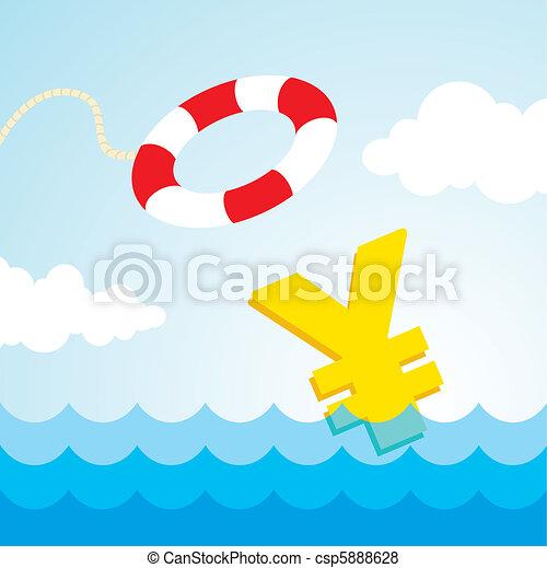 lifebuoy and a yen sign - csp5888628