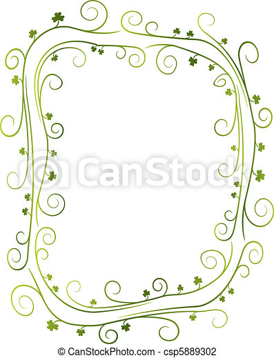 Swirly Shamrock Border - csp5889302