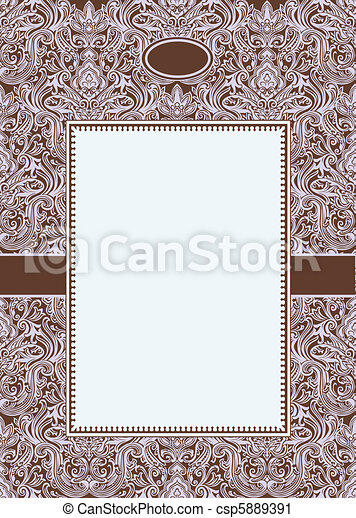 Vector Burgundy Damask Pattern and Frame - csp5889391