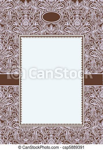 Vector Burgundy Damask Pattern and Frame - csp5889391
