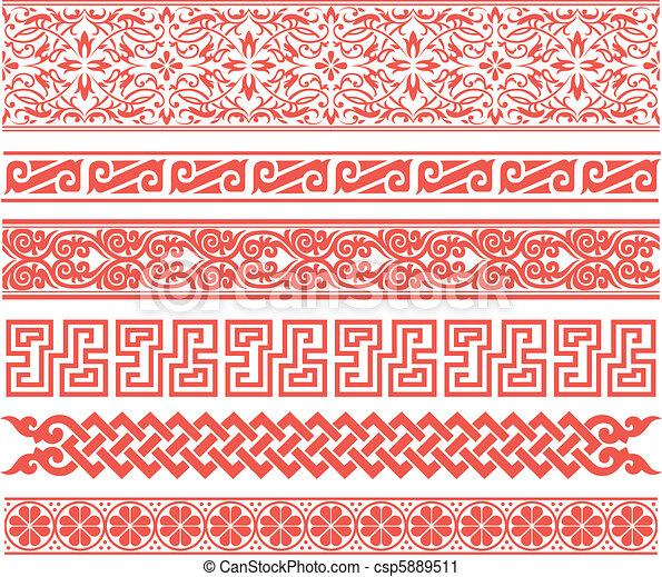 eastern style oriental border set - csp5889511