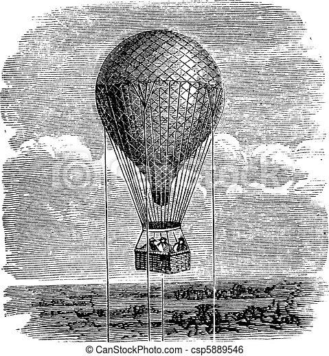 Old aerostat or hot air balloon vintage illustration. - csp5889546