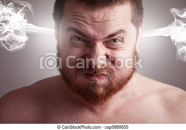 Stress concept - angry man with exploding head - csp5889555