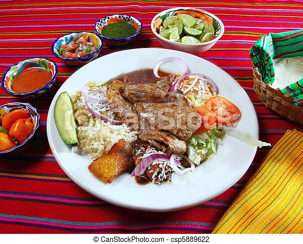 Grilled beef fillet assorted mexican dish chili sauce - csp5889622